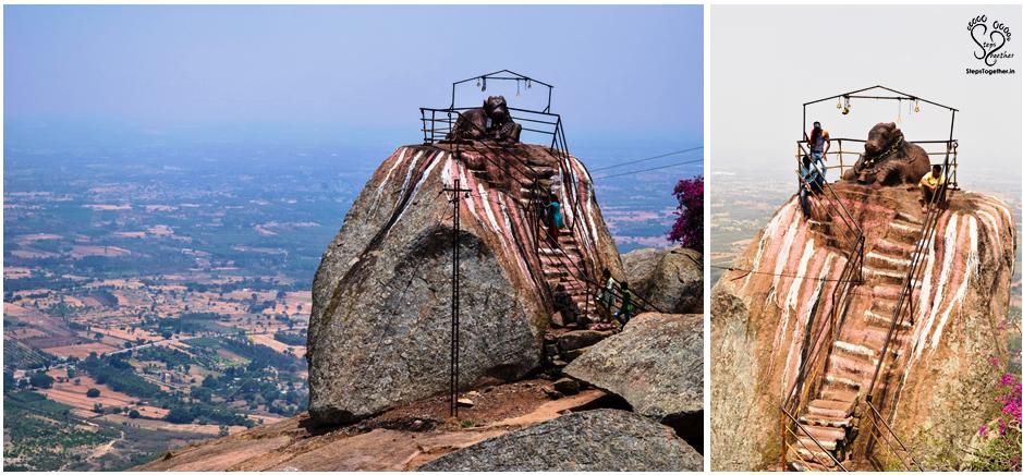 Nandi statue atop the hill