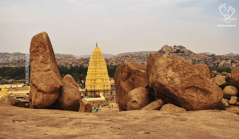 View of Virupaksha temple tower from Hemakuta hill