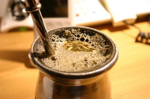 Yerba Mate Gourd with Water and Leaves and Metal Bombilla Cleanse Body