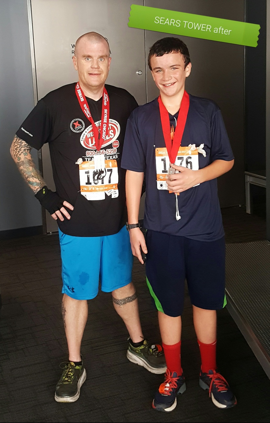 image of steve and lil man at Sears Tower 2017 after