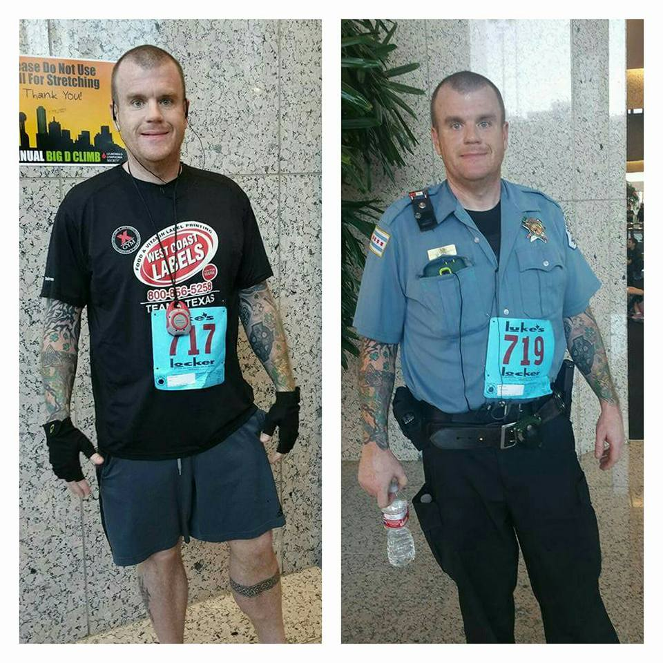 side by side images of steve at the Big D Climb-Dallas 2015