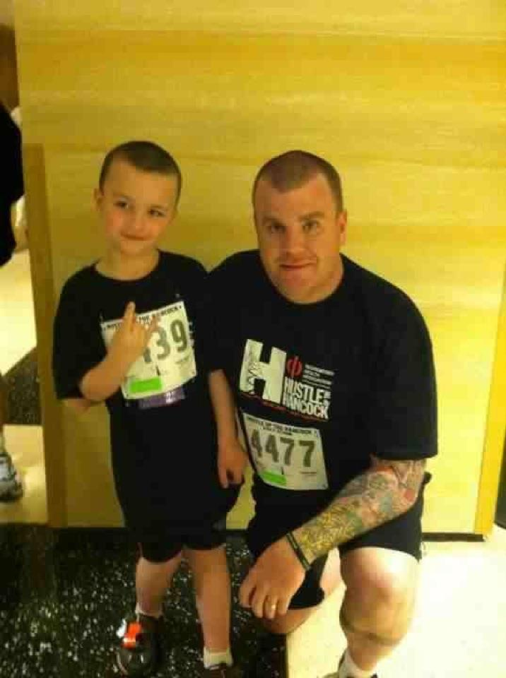 image of steve and lil man at Hustle Up the Hankcock 2012 -Before
