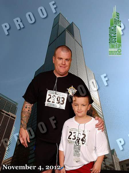 image of steve and son finishing skyrise stairclimb in chicago