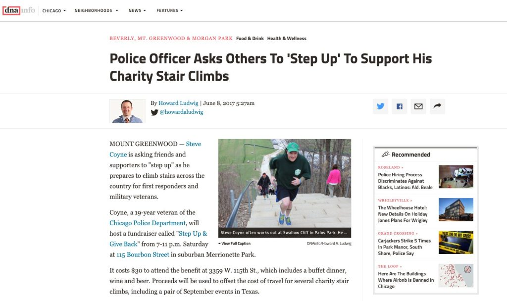 """image of a newspaper clipping with the title """"Police Officer Asks others to step up to support his charity stair climbs."""