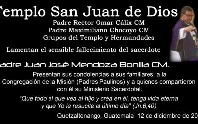 Muere el padre Juan José Mendoza, Iglesia San Juan de Dios
