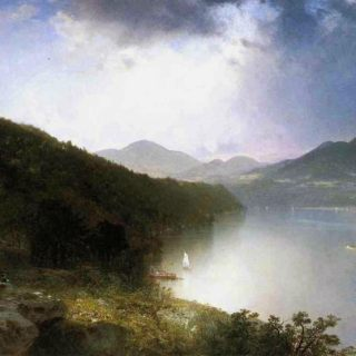"painting entitled ""View of the Hudson"", by John Frederick Kensett in 1865"