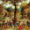Painting of people dancing around and celebrating