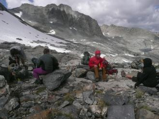 Resting after hiking in the snowy mountains of California Summer 2017