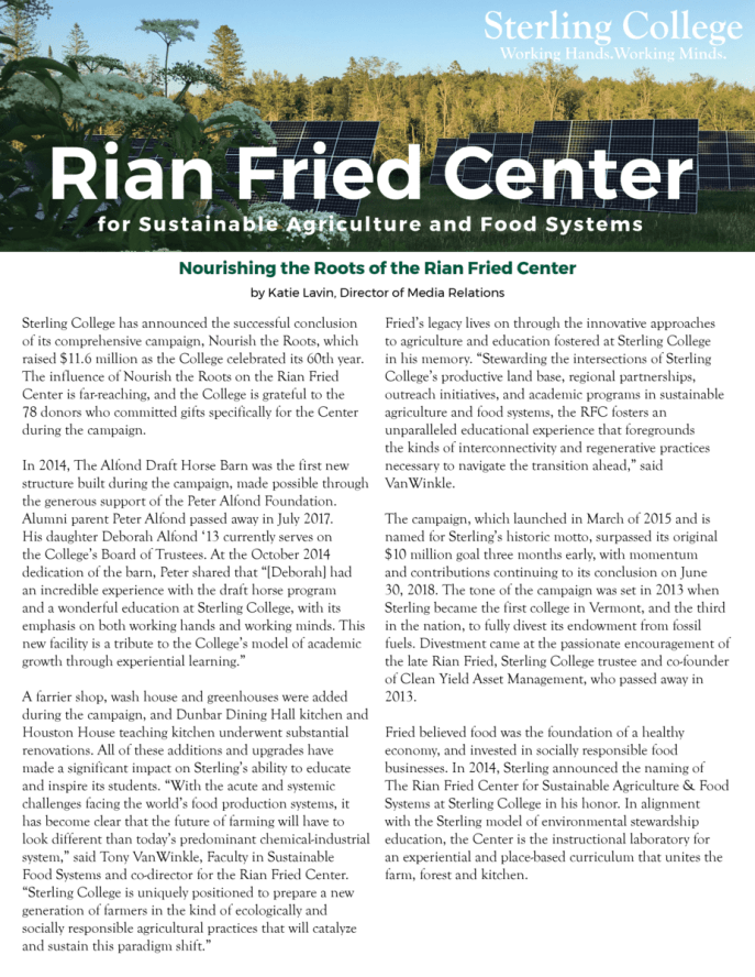cover page of the Rian Fried Center newsletter, click to open the newsletter in PDF format