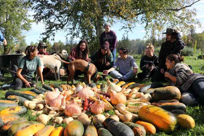 Students and dog friends smile and sit around the mandala they created out of native squash, corn, and beans grown for the Native Food & Farming course; beautiful sunny Autumn day with warm light.