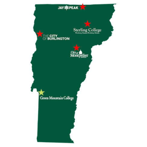 Map of Vermont displaying Green Mountain College, Sterling College, Burlington, Montpelier, and Jay Peak