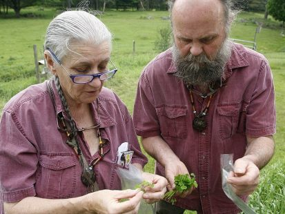 photo of Nova Kim & Les Hook foraging wild food