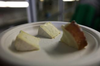 three samples of cheese on a plate