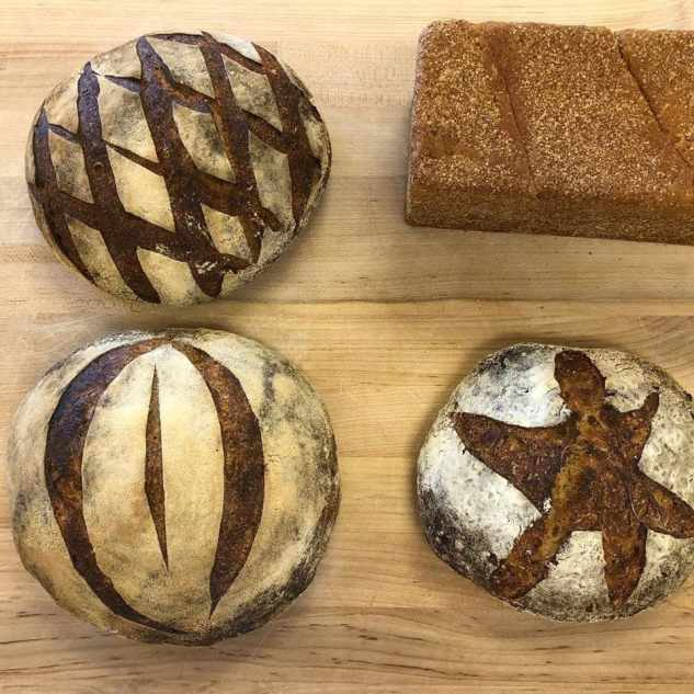 decorative loaves of bread on a counter