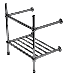flair two leg basin stand with rack