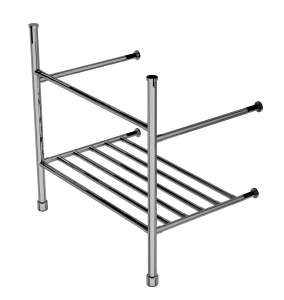 contemporary two leg basin stand with rack