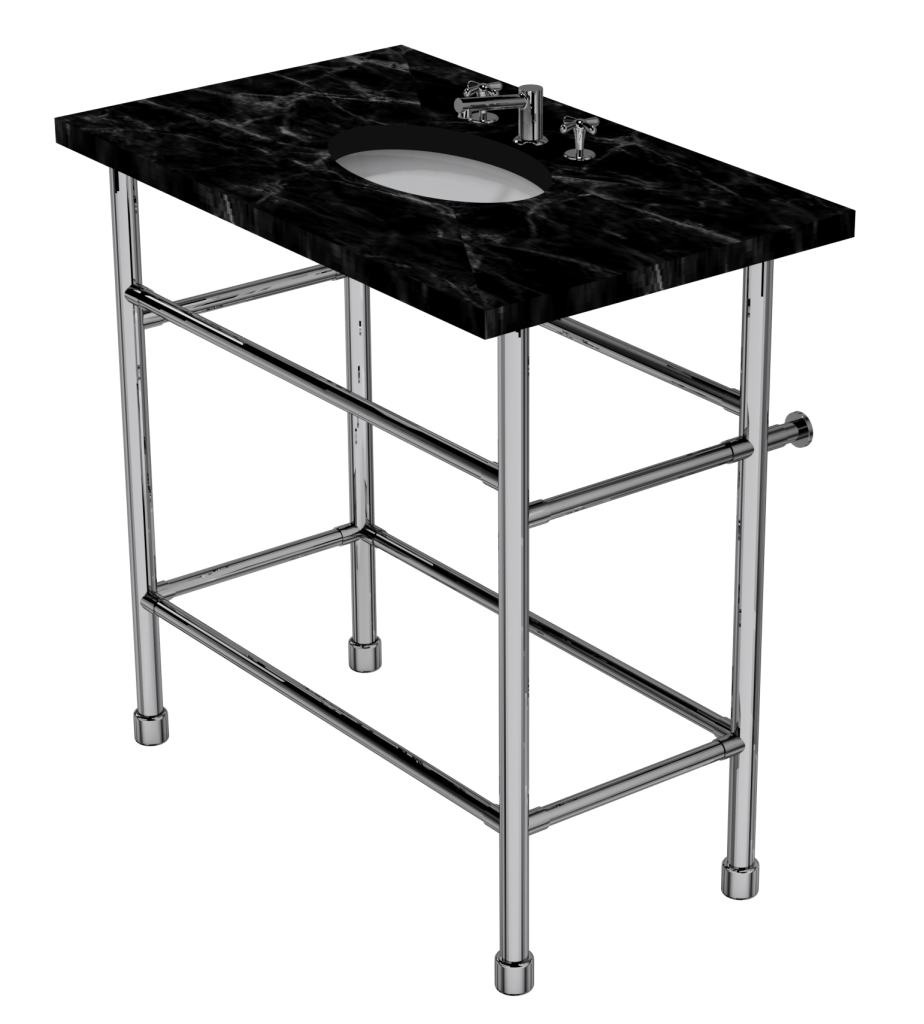 contemporary four leg washstand with shelf support