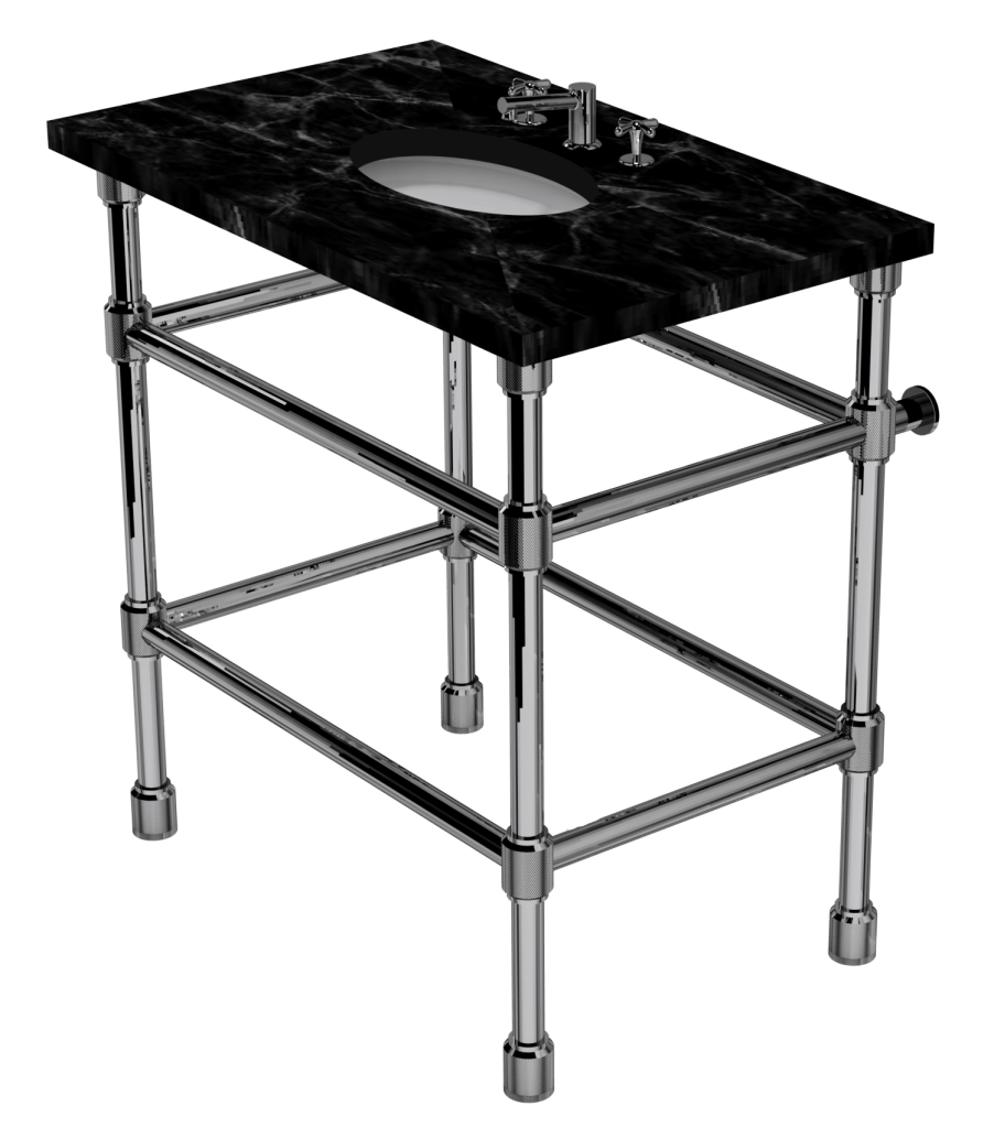 Industrial Four Leg Washstand With Shelf Support
