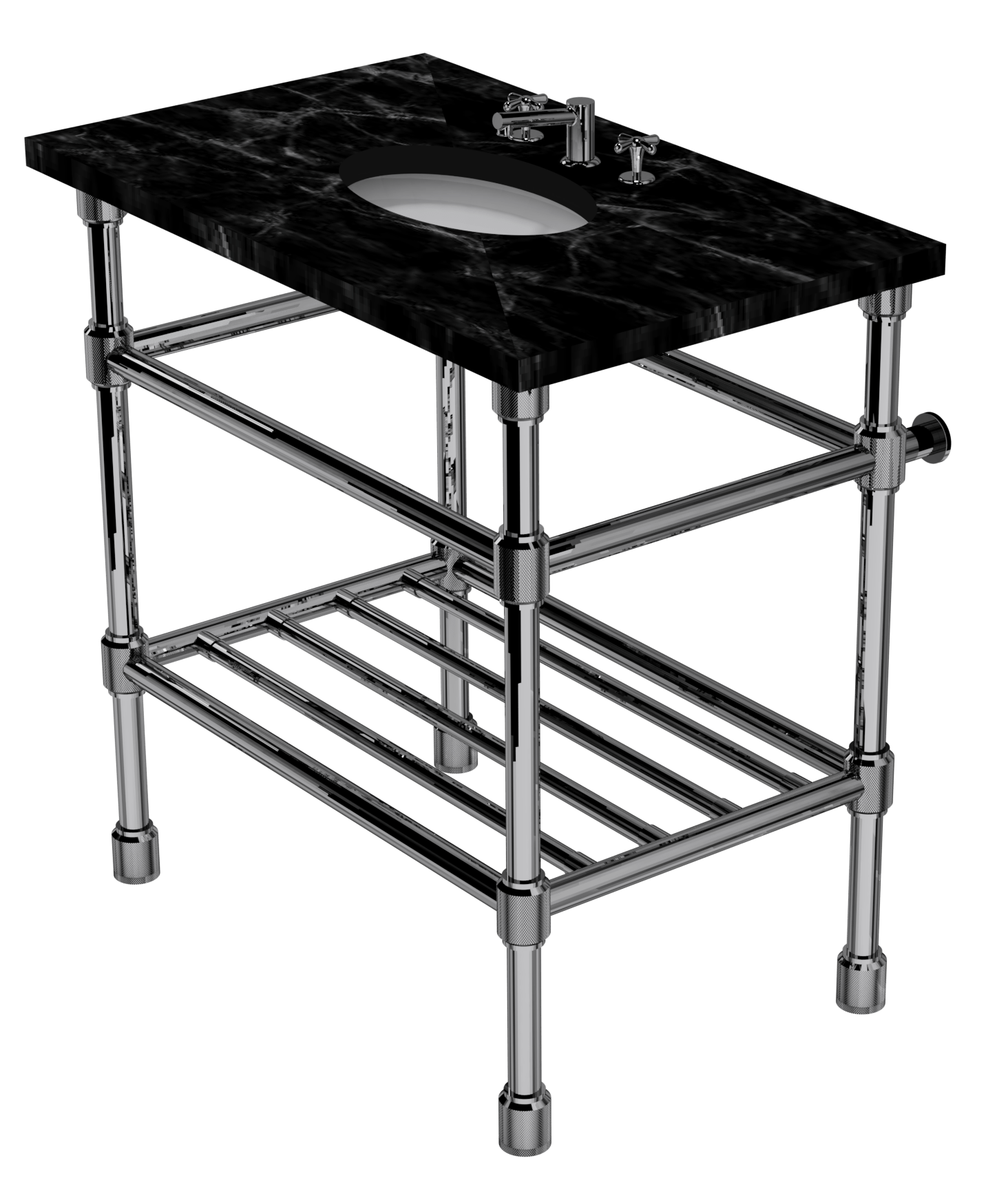 Industrial Four Leg Washstand With Rack