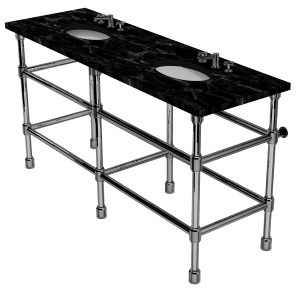 Industrial Six Leg Washstand With Shelf Support