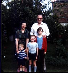 Us three with my Grandma and Grandad Swain. We are stood in front of Grandad's beloved apple tree.