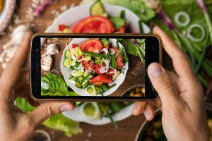 Taking Picture of food on phone for social media
