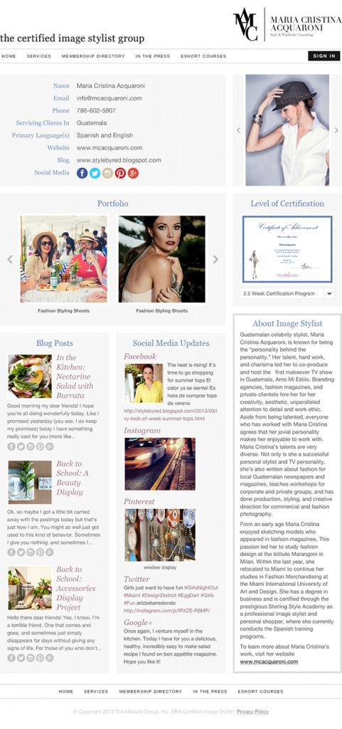 Sample Certified Image Stylist Member Page