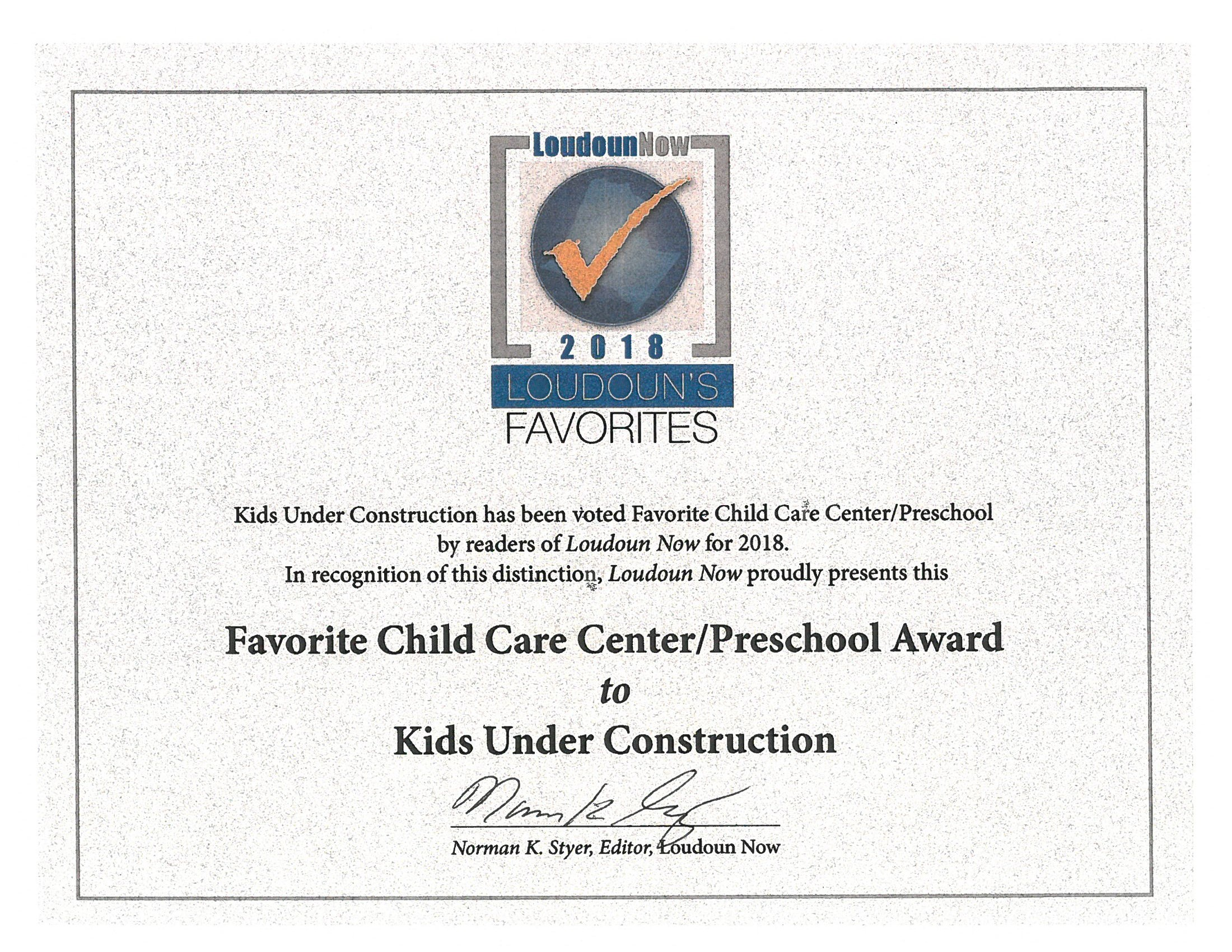 Kids Under Construction Preschool Sterling United Methodist Church