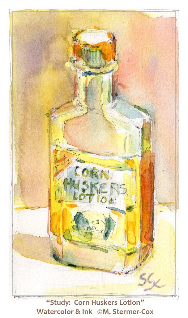 watercolor studies : Corn Huskers Lotion