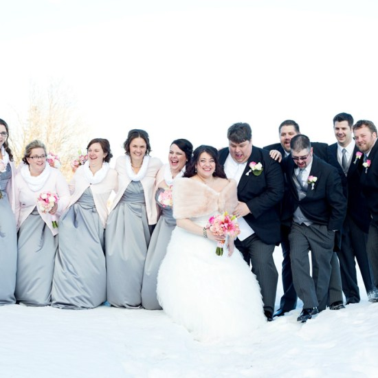 winter wedding, lake superior, silver and black, pink pastel