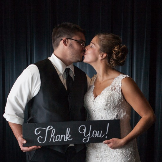 thank you sign for cards, bride and groom thank you