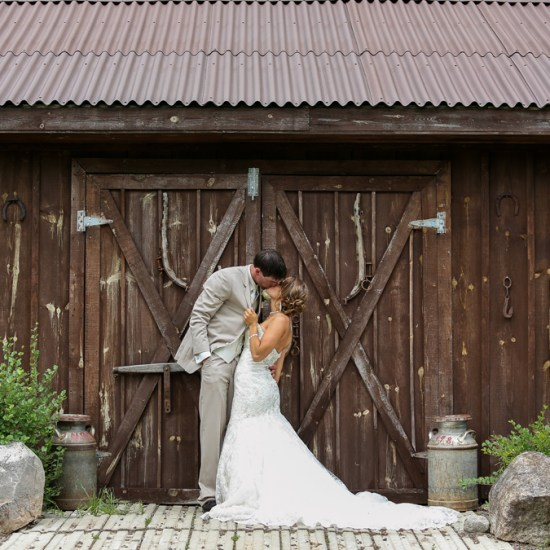 amazing barn wedding photo, gorgeous dress, khaki tuxedo, tux