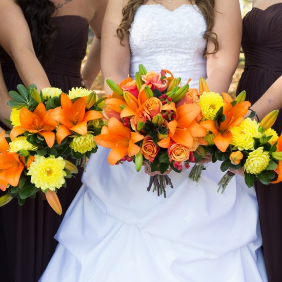 orange and yellow wedding flowers