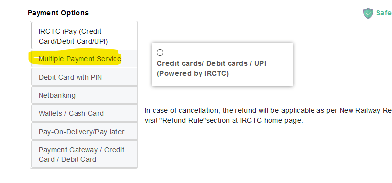 India Rail payment page