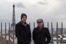 On the Arc de Triomphe with Andrew, Geoff and a familiar background
