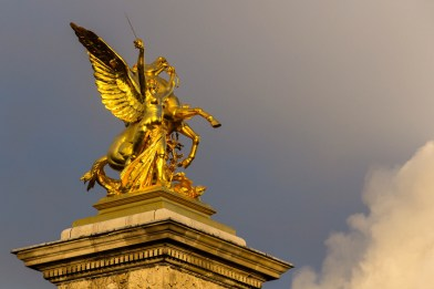"""Fame of War"" statue on Pont Alexandre iii in honour of an alliance between Russia and France in 1892"