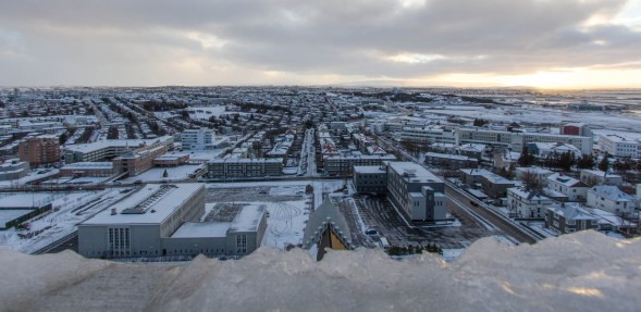 East of the city from the very very very cold and windy tower of Hallgrímskirkja.