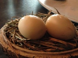 Pickled and smoked quail eggs