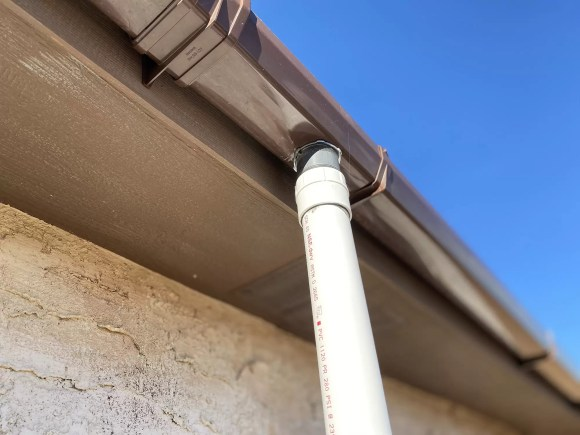 PVC downspout from gutter