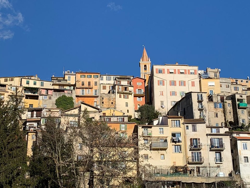 Steve and Carole in Vence - The perched village of Contes.