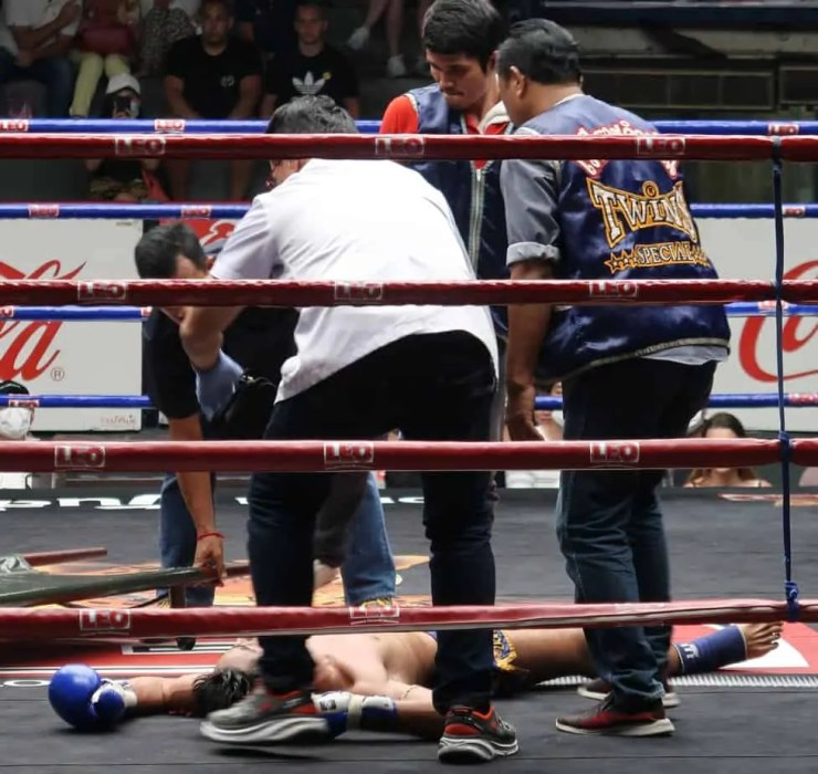 A fighter has been knocked out after a hard kick to the jaw
