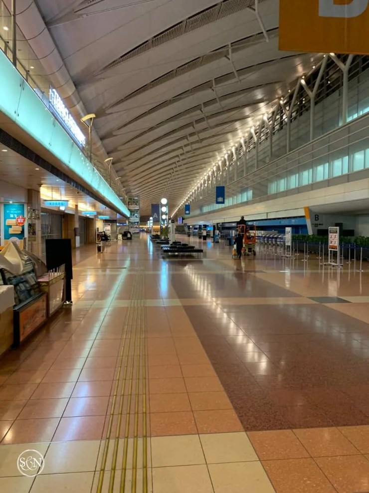 Empty terminal at Haneda International airport in Tokyo Japan