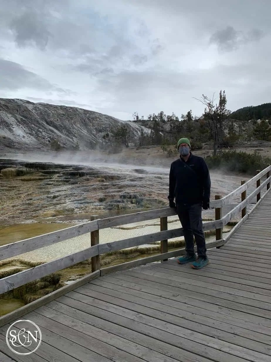 Steve on the Boardwalk at Mammoth Hot Springs