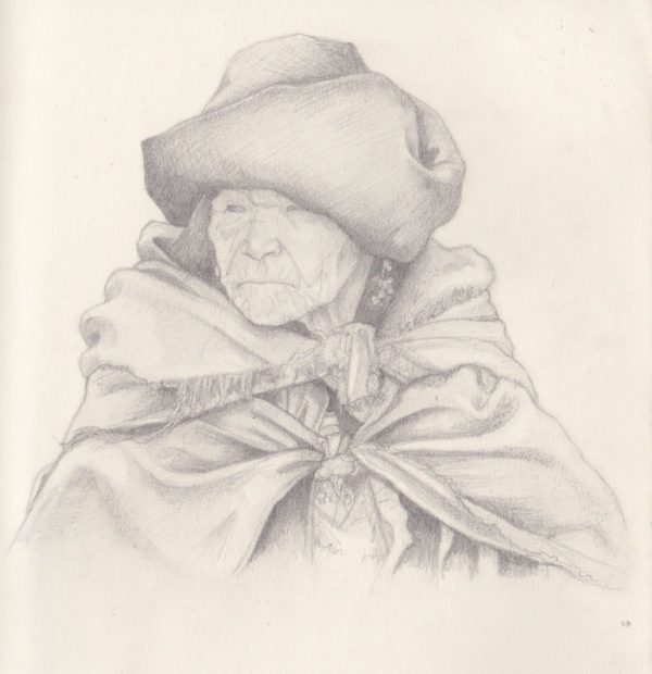 woman-in-cloak-pencil-steve-beadle-art