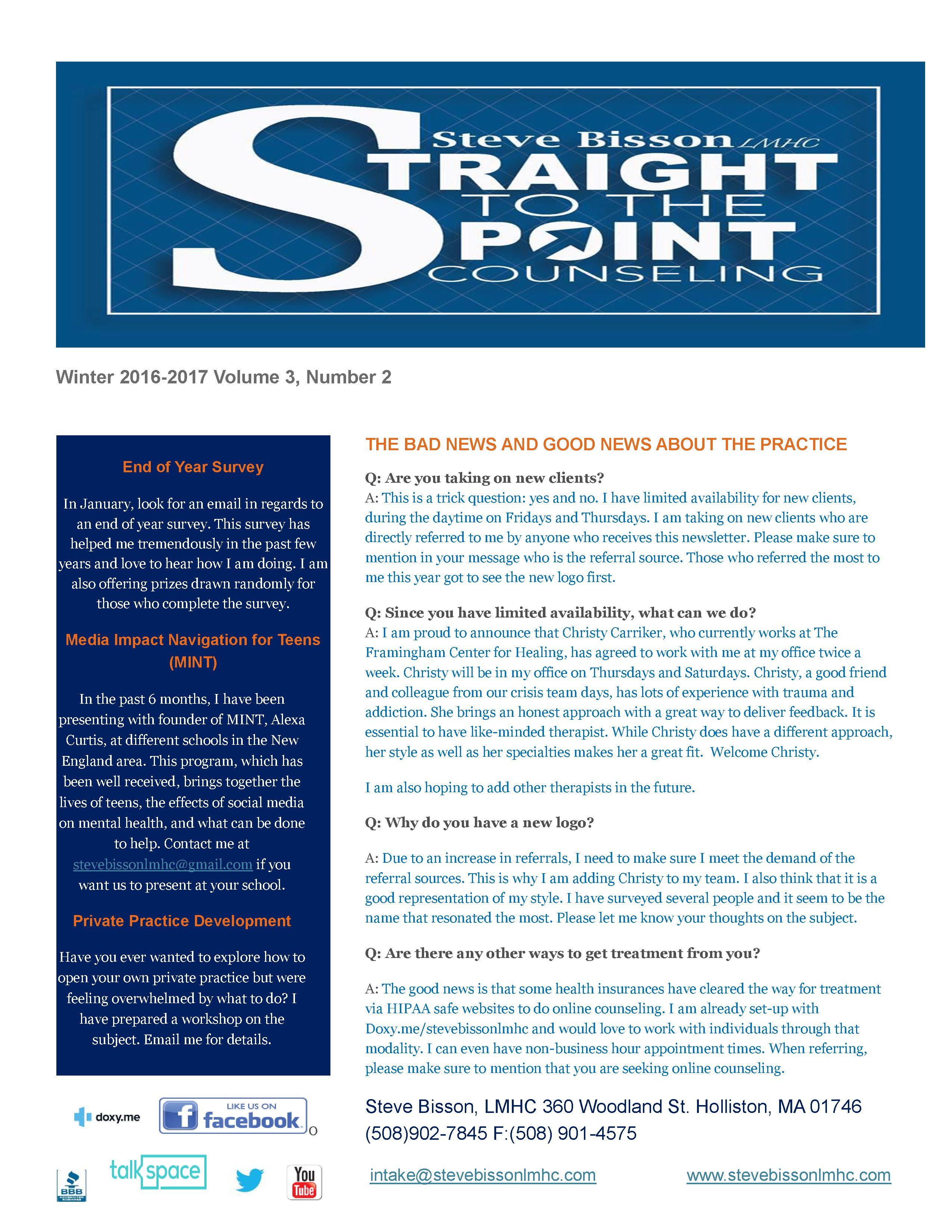 Winter  Newsletter  Steve Bisson Lmhc
