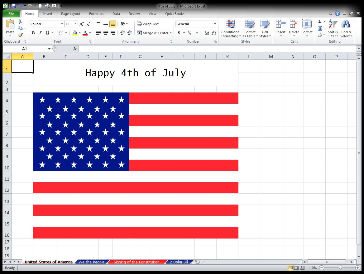 4th Of July Celebration In An Excel Spreadsheet