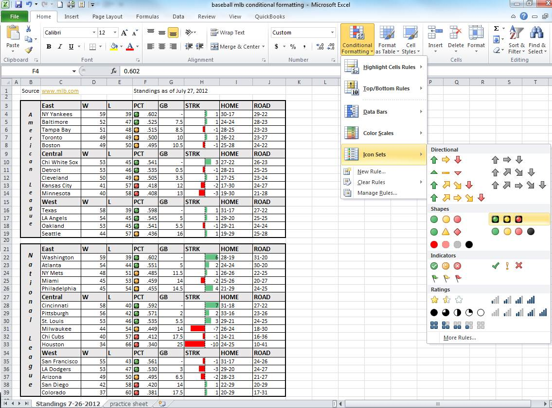 Excel Conditional Formatting Percentage Range