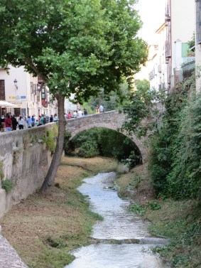 Granada: Old bridge over the River Darro.