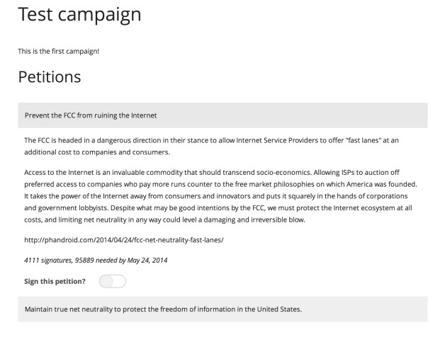 A single campaign with no petitions chosen for signing