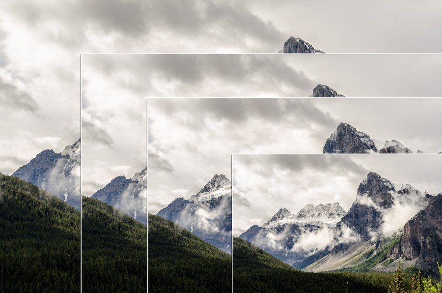 A photo of a mountain with increasingly smaller copies of the same image overlaid on top.